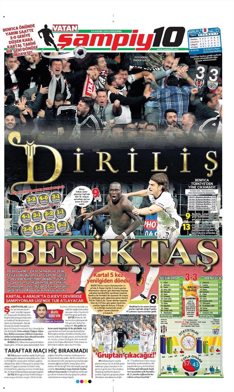 24 Kasım 2016 | Gazetelerin Beşiktaş sayfaları 32