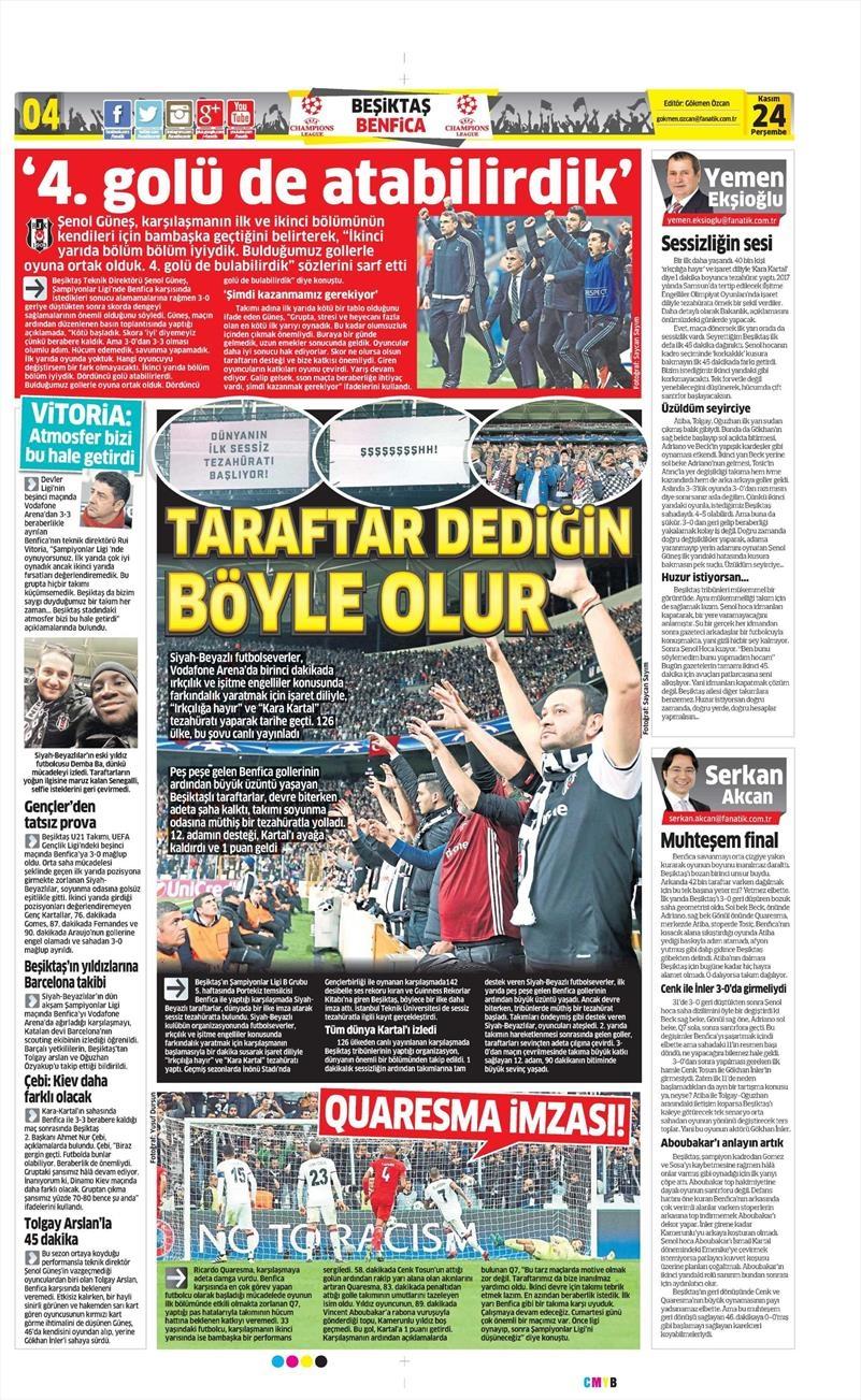 24 Kasım 2016   Gazetelerin Beşiktaş sayfaları 4