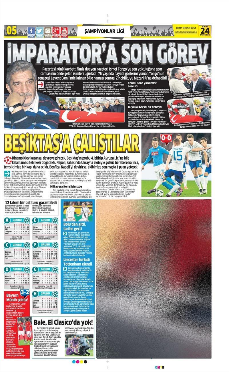 24 Kasım 2016 | Gazetelerin Beşiktaş sayfaları 5