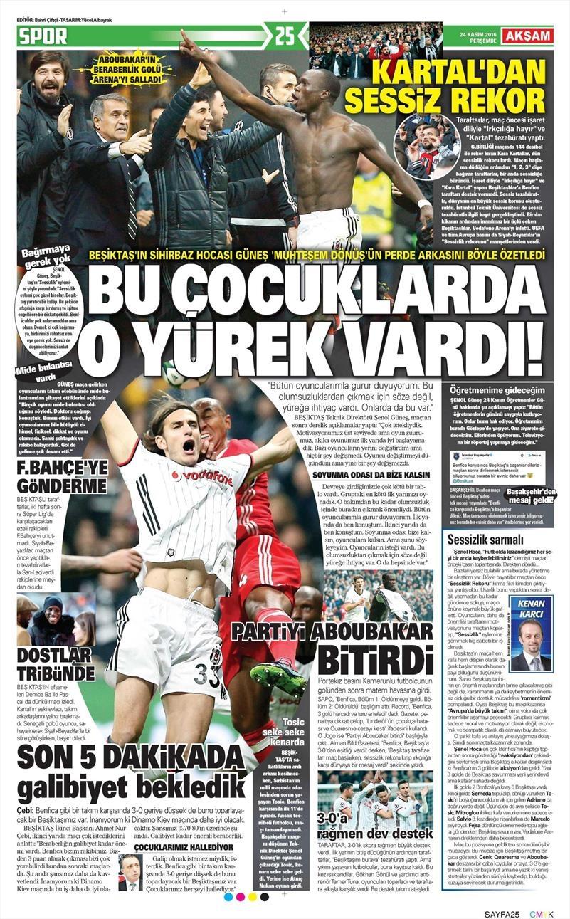 24 Kasım 2016 | Gazetelerin Beşiktaş sayfaları 8