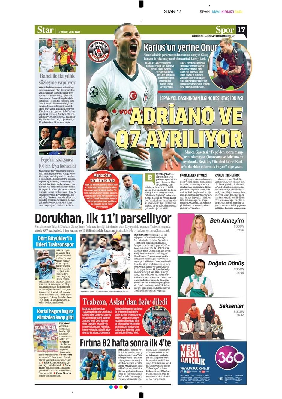 18 Aralık 2018 | Gazetelerin Beşiktaş Manşetleri 1