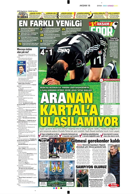 23 Aralık 2018 | Gazetelerin Beşiktaş Manşetleri 1