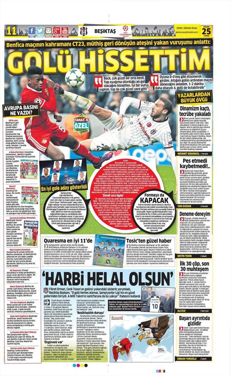 25 Kasım 2016 | Gazetelerin Beşiktaş sayfaları 10