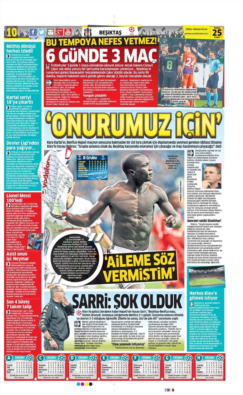 25 Kasım 2016 | Gazetelerin Beşiktaş sayfaları 11