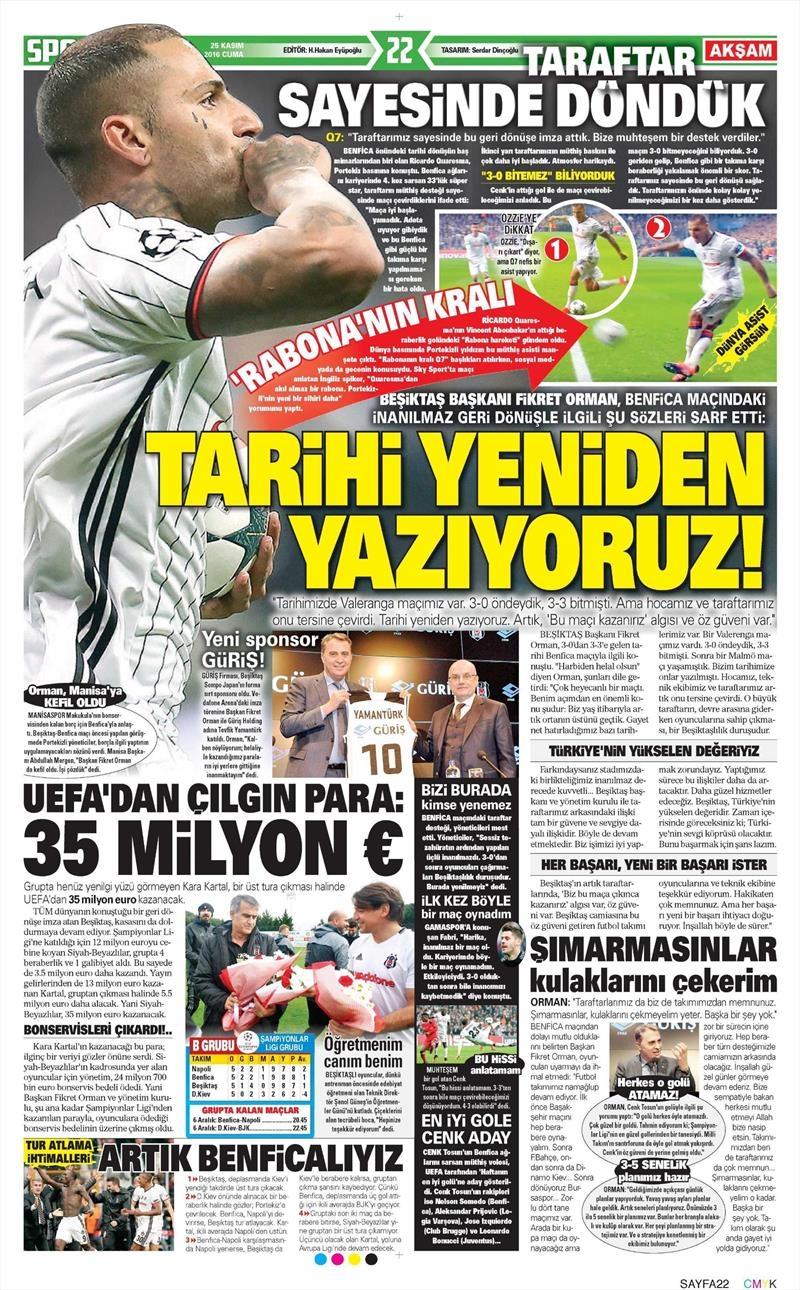 25 Kasım 2016 | Gazetelerin Beşiktaş sayfaları 2