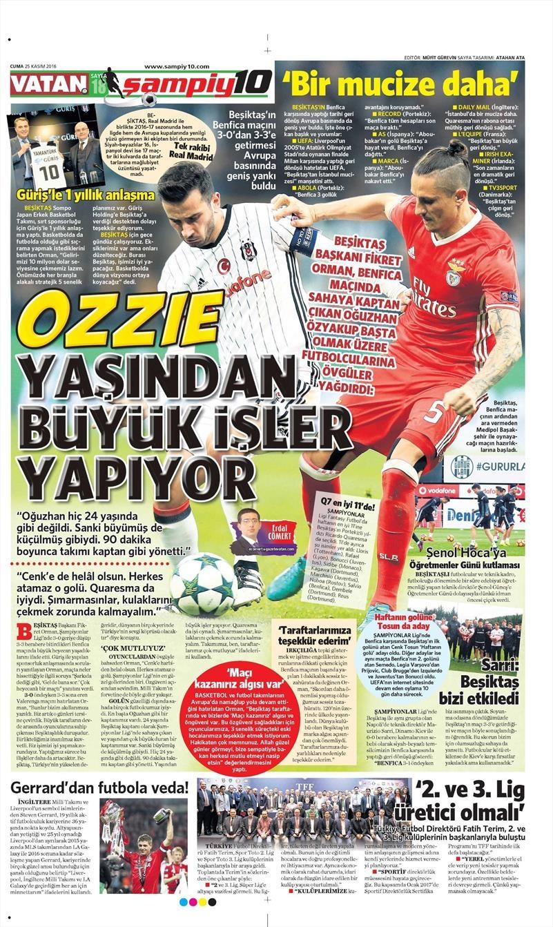 25 Kasım 2016 | Gazetelerin Beşiktaş sayfaları 3
