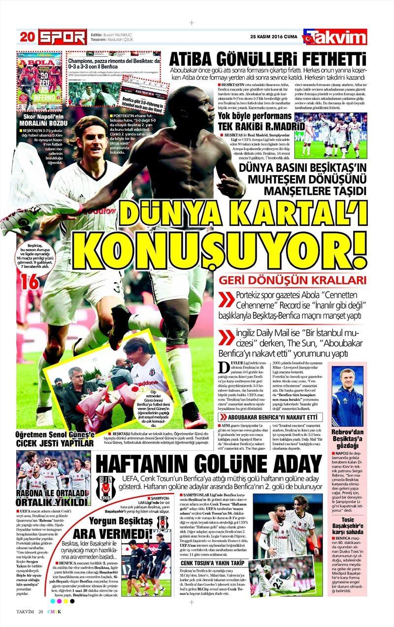 25 Kasım 2016   Gazetelerin Beşiktaş sayfaları 4