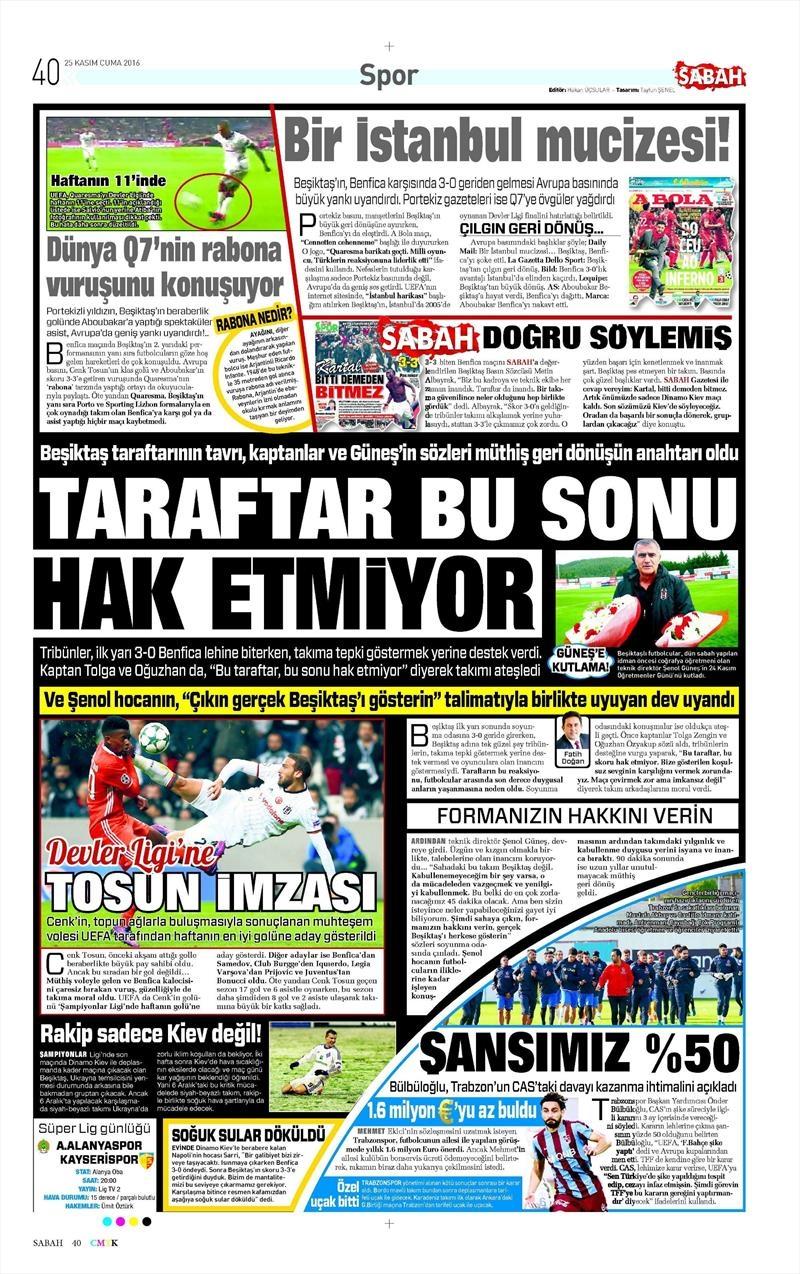 25 Kasım 2016 | Gazetelerin Beşiktaş sayfaları 5