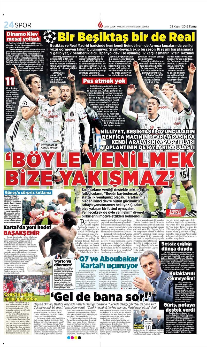 25 Kasım 2016 | Gazetelerin Beşiktaş sayfaları 6