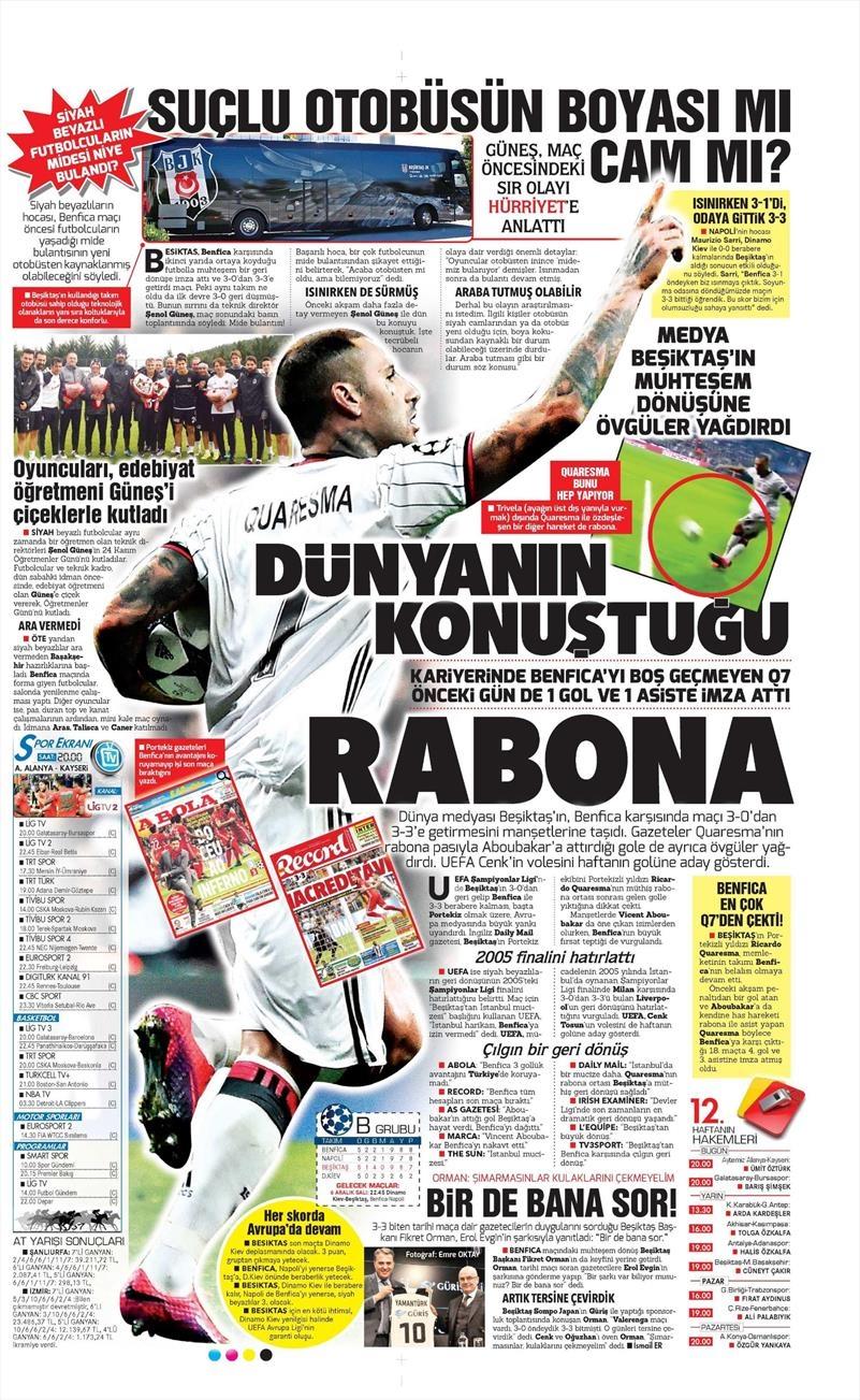 25 Kasım 2016 | Gazetelerin Beşiktaş sayfaları 7