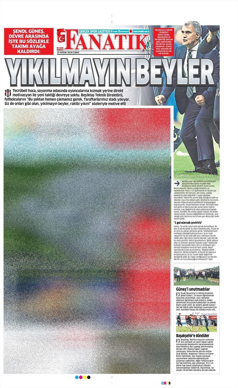 25 Kasım 2016   Gazetelerin Beşiktaş sayfaları 9
