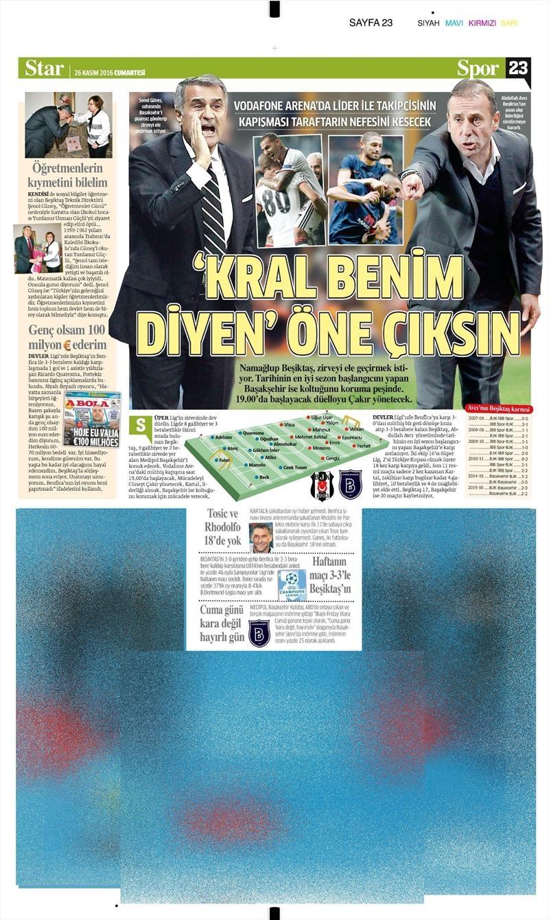 26 Kasım 2016   Gazetelerin Beşiktaş sayfaları 10