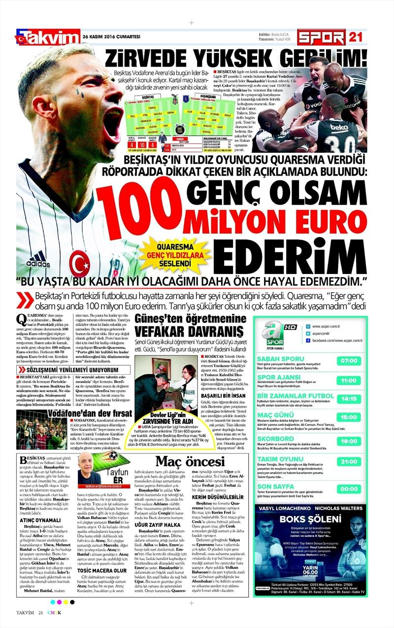 26 Kasım 2016 | Gazetelerin Beşiktaş sayfaları 11