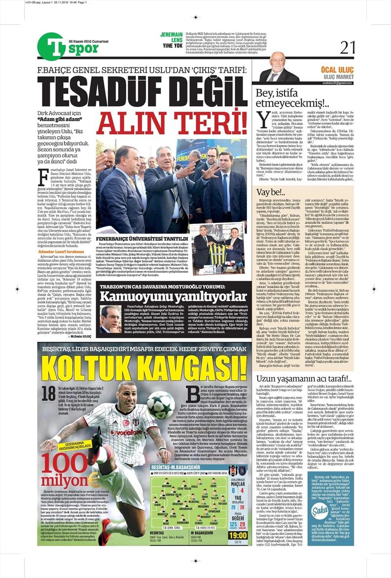 26 Kasım 2016 | Gazetelerin Beşiktaş sayfaları 12