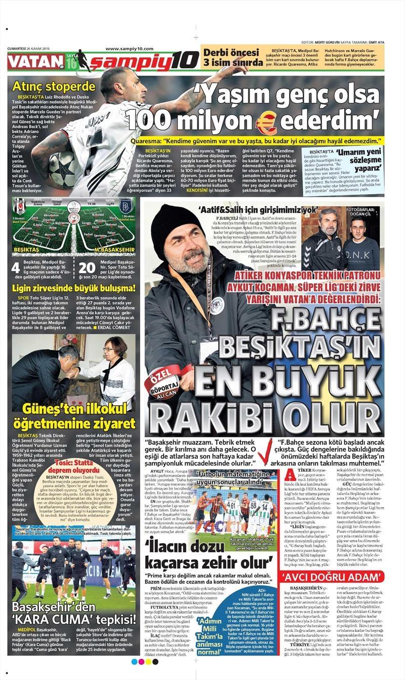 26 Kasım 2016 | Gazetelerin Beşiktaş sayfaları 13