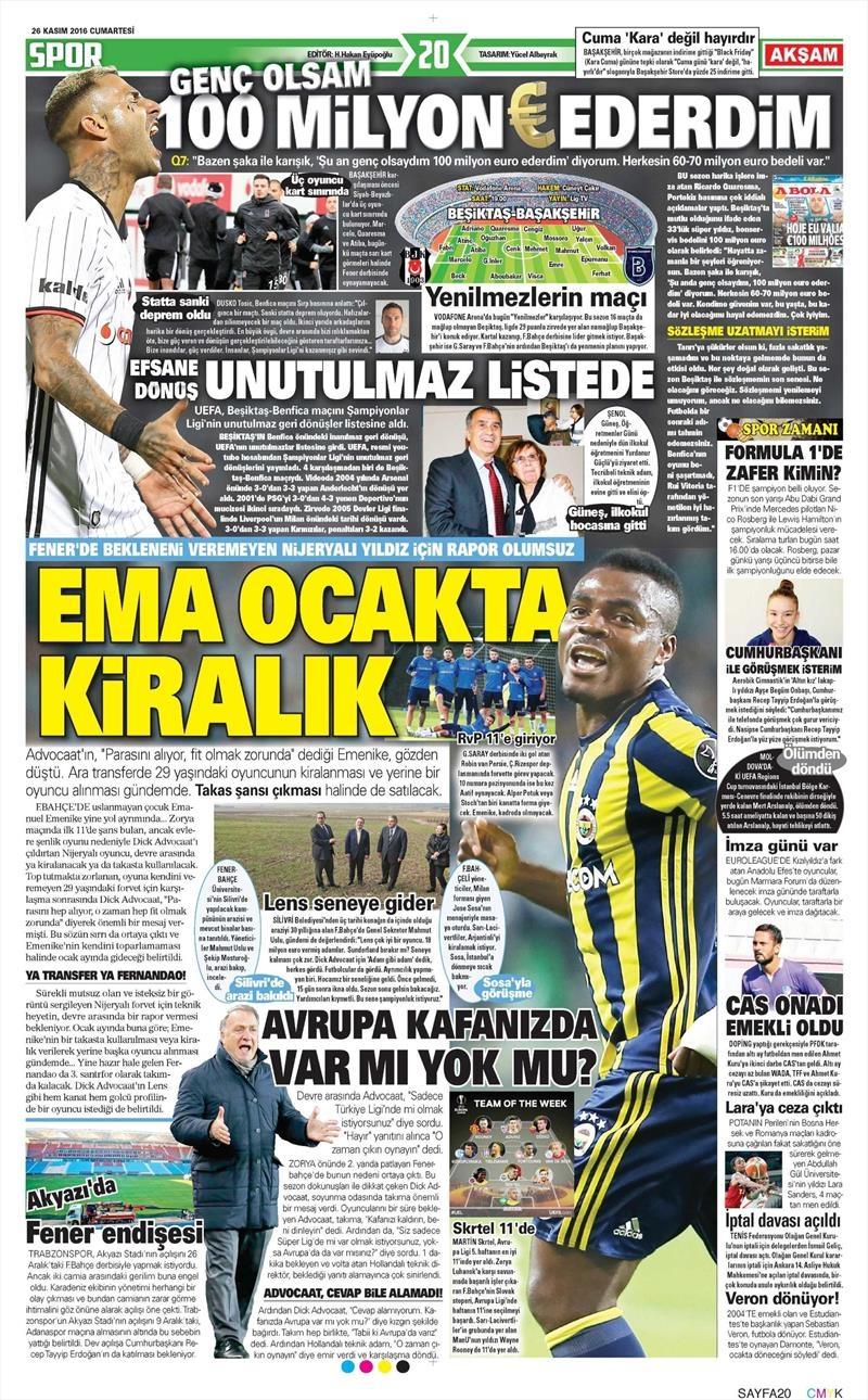 26 Kasım 2016 | Gazetelerin Beşiktaş sayfaları 3