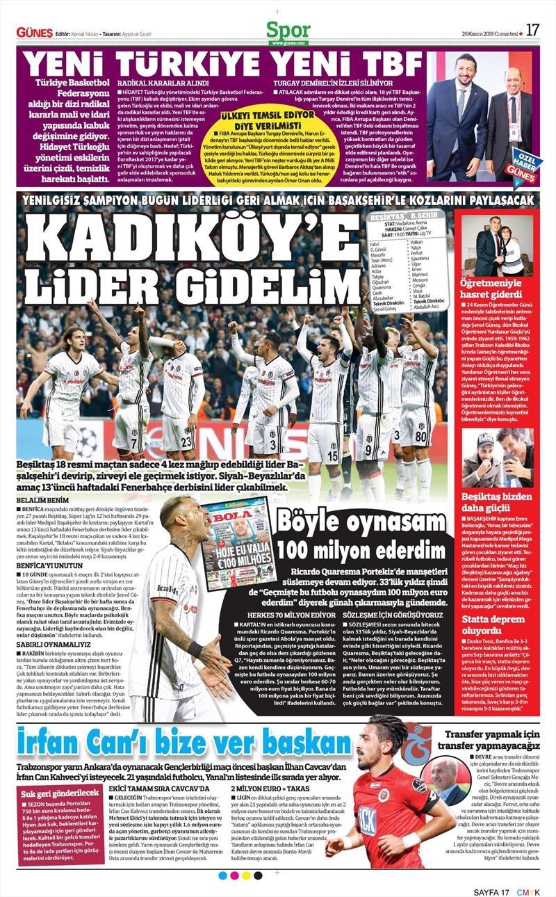 26 Kasım 2016 | Gazetelerin Beşiktaş sayfaları 4