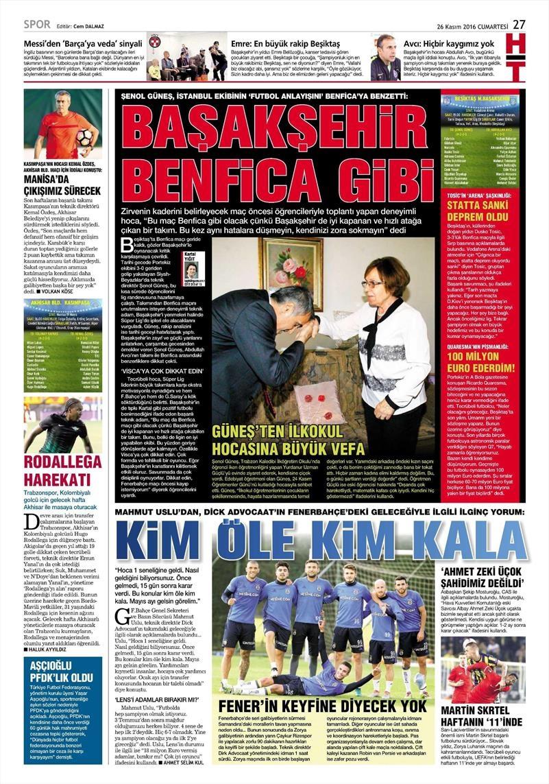 26 Kasım 2016 | Gazetelerin Beşiktaş sayfaları 5