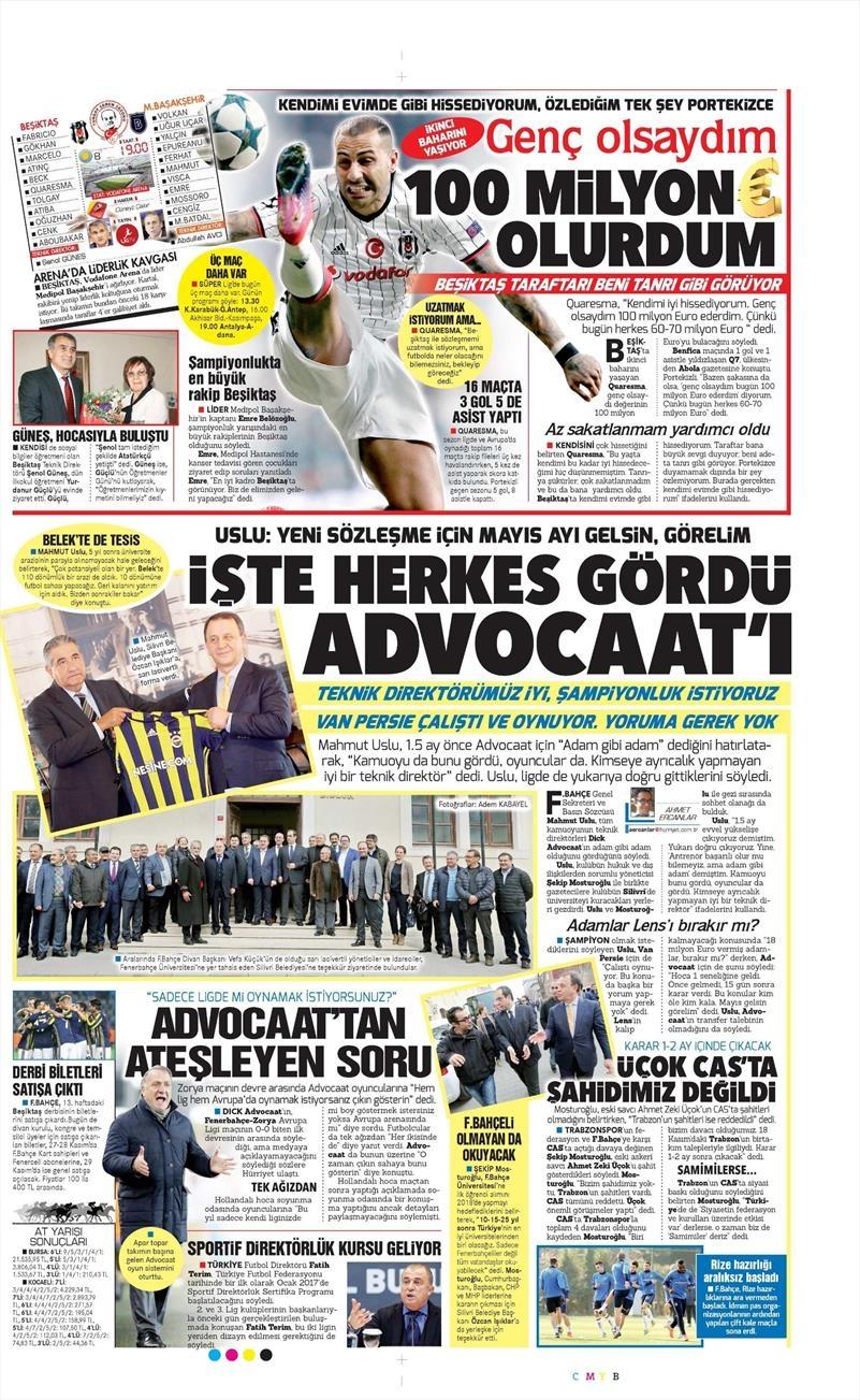 26 Kasım 2016   Gazetelerin Beşiktaş sayfaları 6