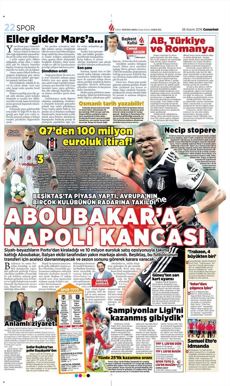 26 Kasım 2016 | Gazetelerin Beşiktaş sayfaları 7