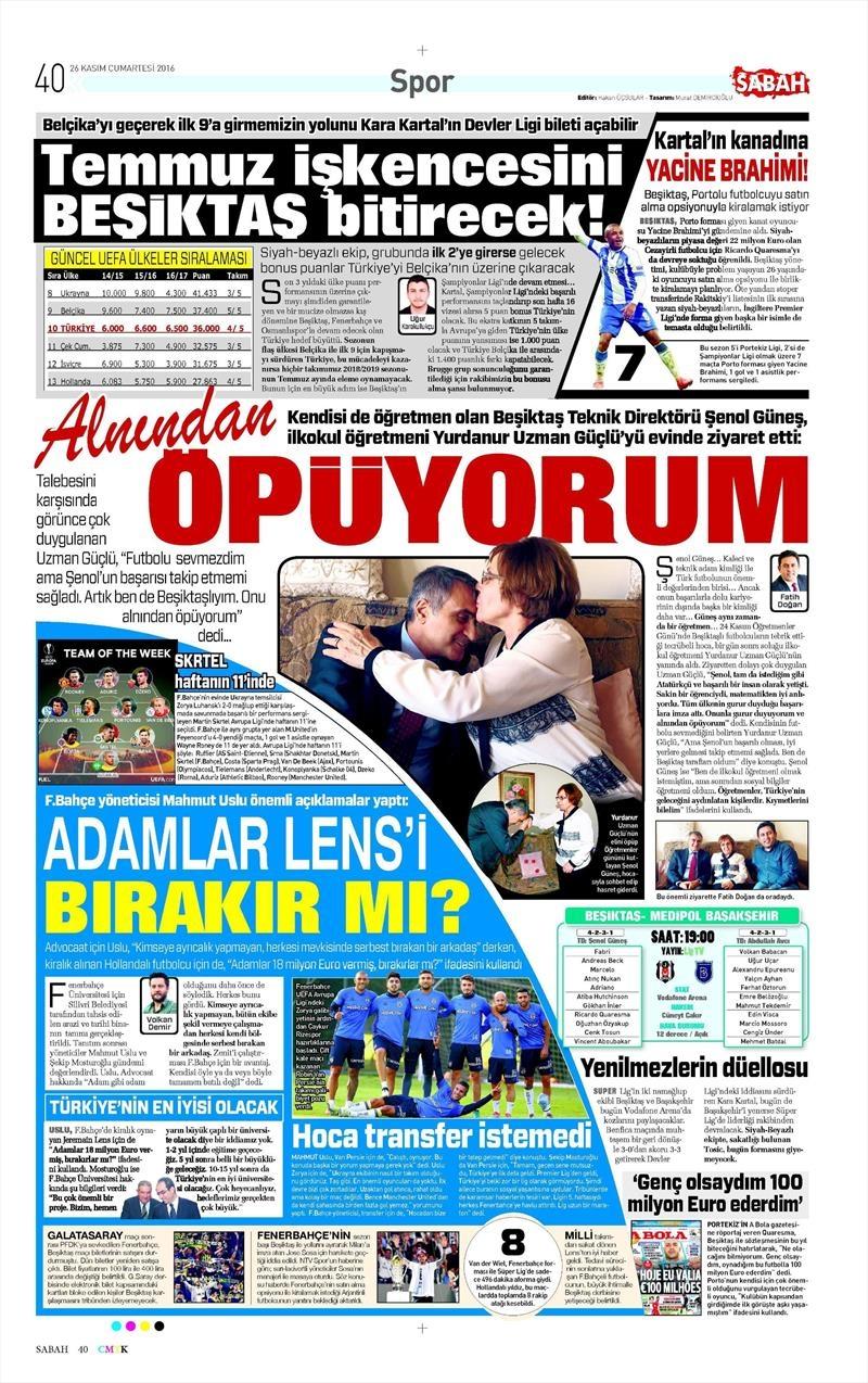 26 Kasım 2016   Gazetelerin Beşiktaş sayfaları 9