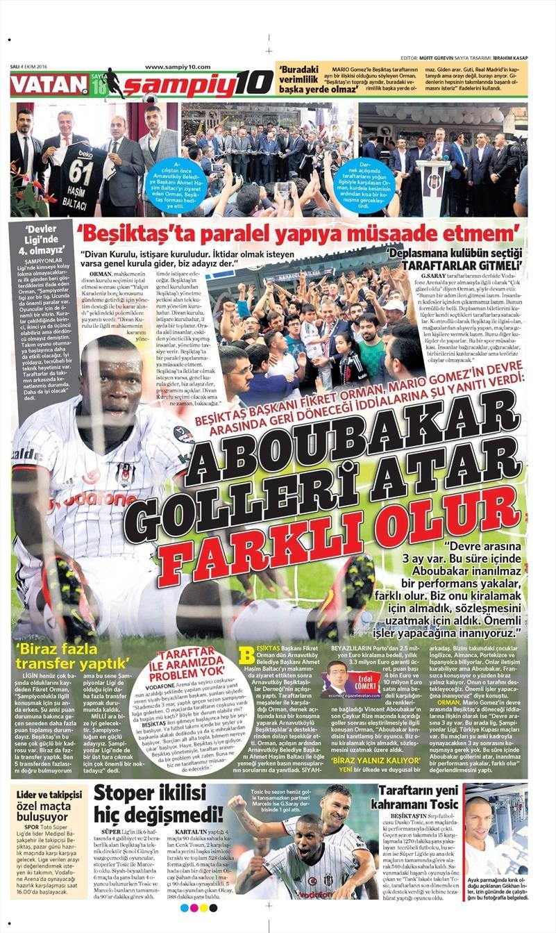 4 Ekim 2016 | Beşiktaş sayfaları 1