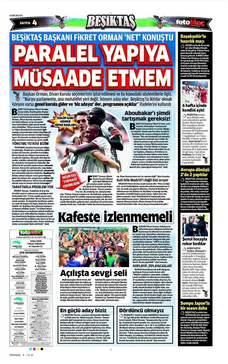 4 Ekim 2016 | Beşiktaş sayfaları 10