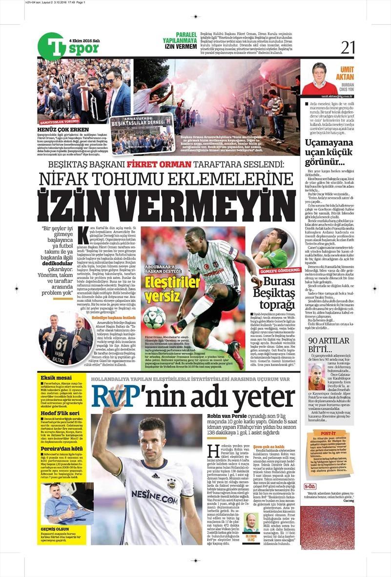 4 Ekim 2016 | Beşiktaş sayfaları 2