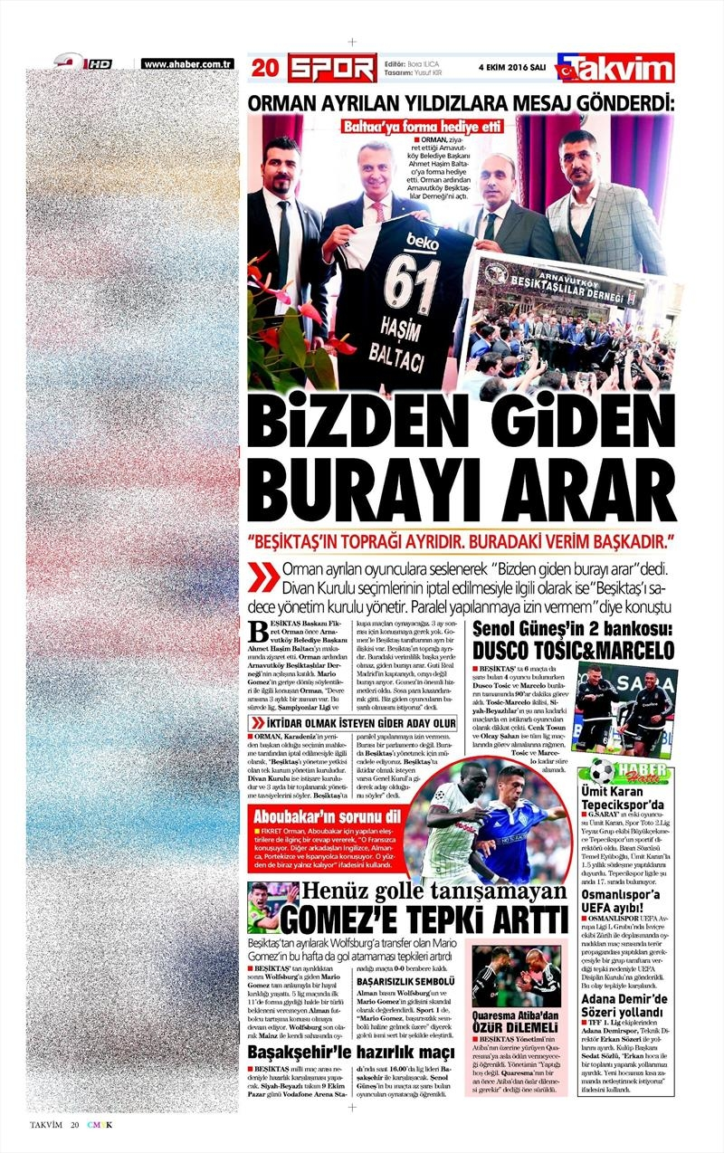 4 Ekim 2016 | Beşiktaş sayfaları 3