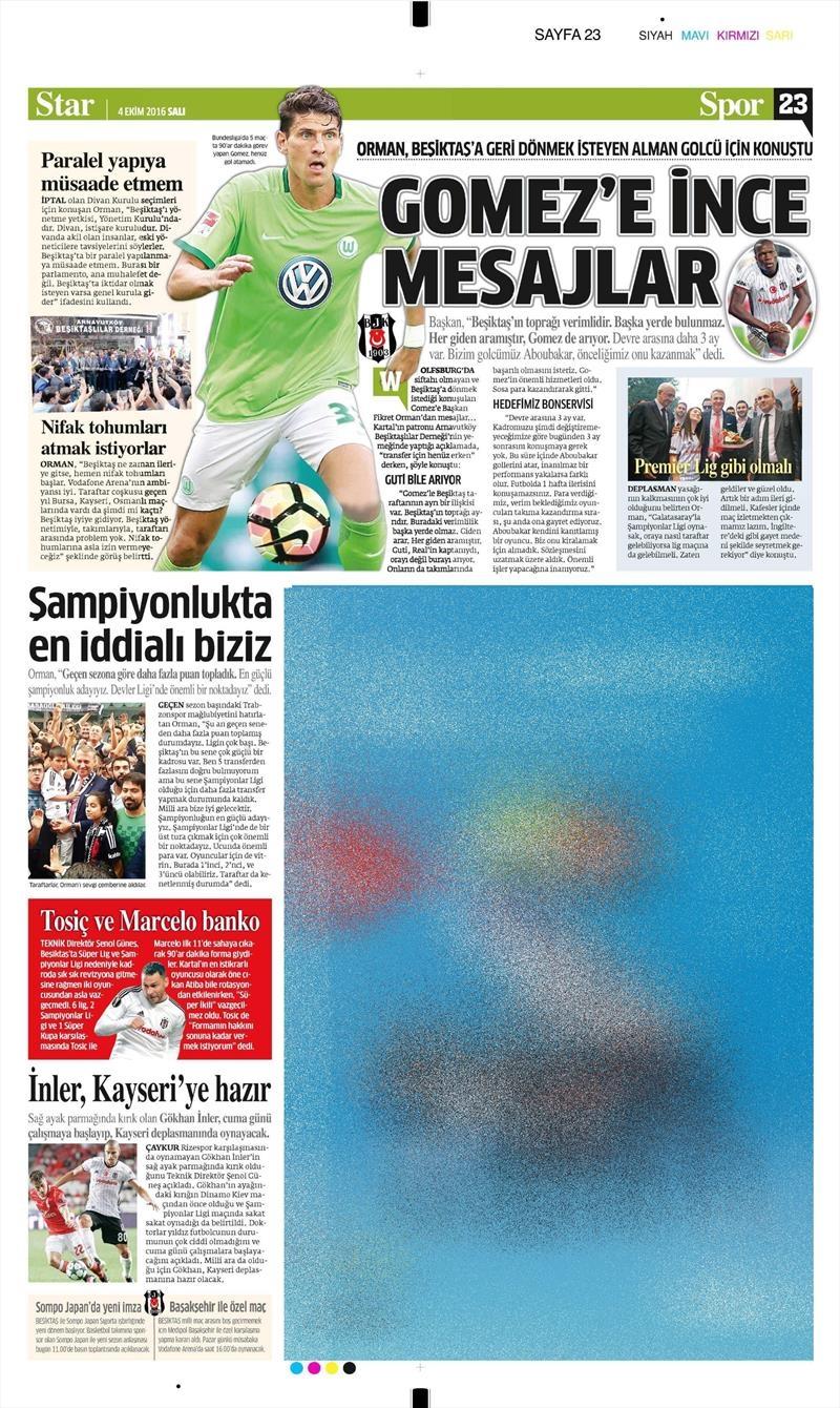 4 Ekim 2016 | Beşiktaş sayfaları 4