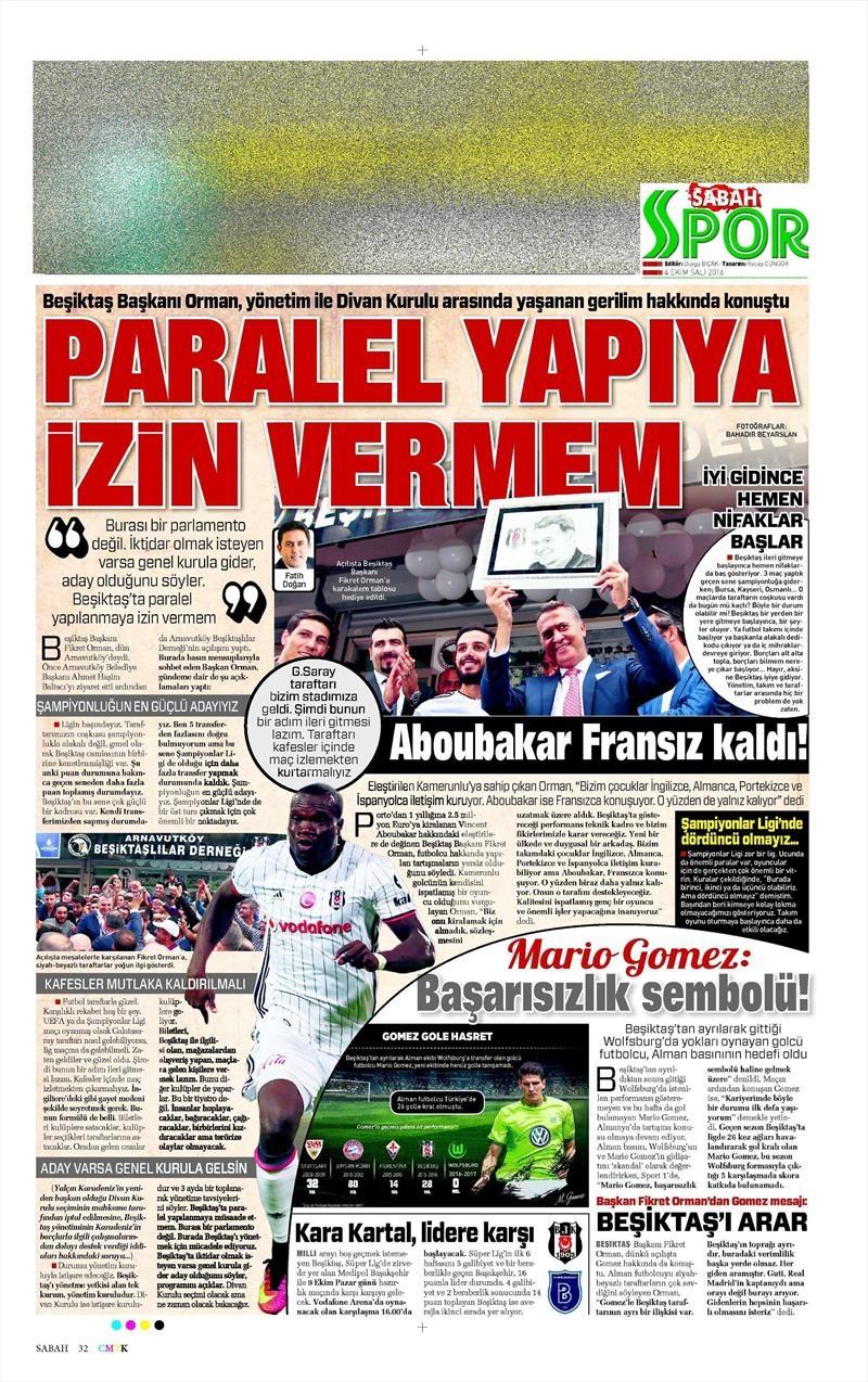 4 Ekim 2016 | Beşiktaş sayfaları 5