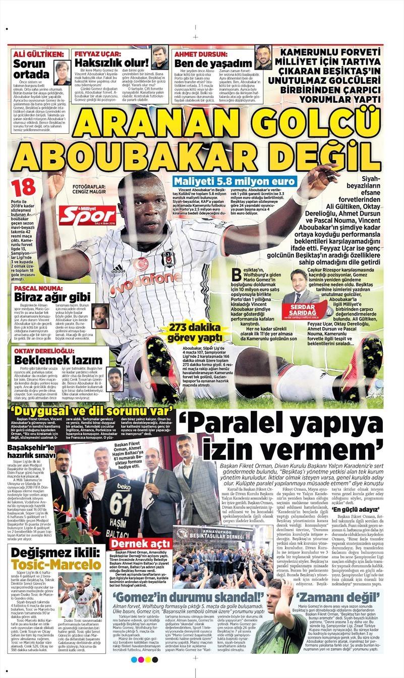 4 Ekim 2016 | Beşiktaş sayfaları 6