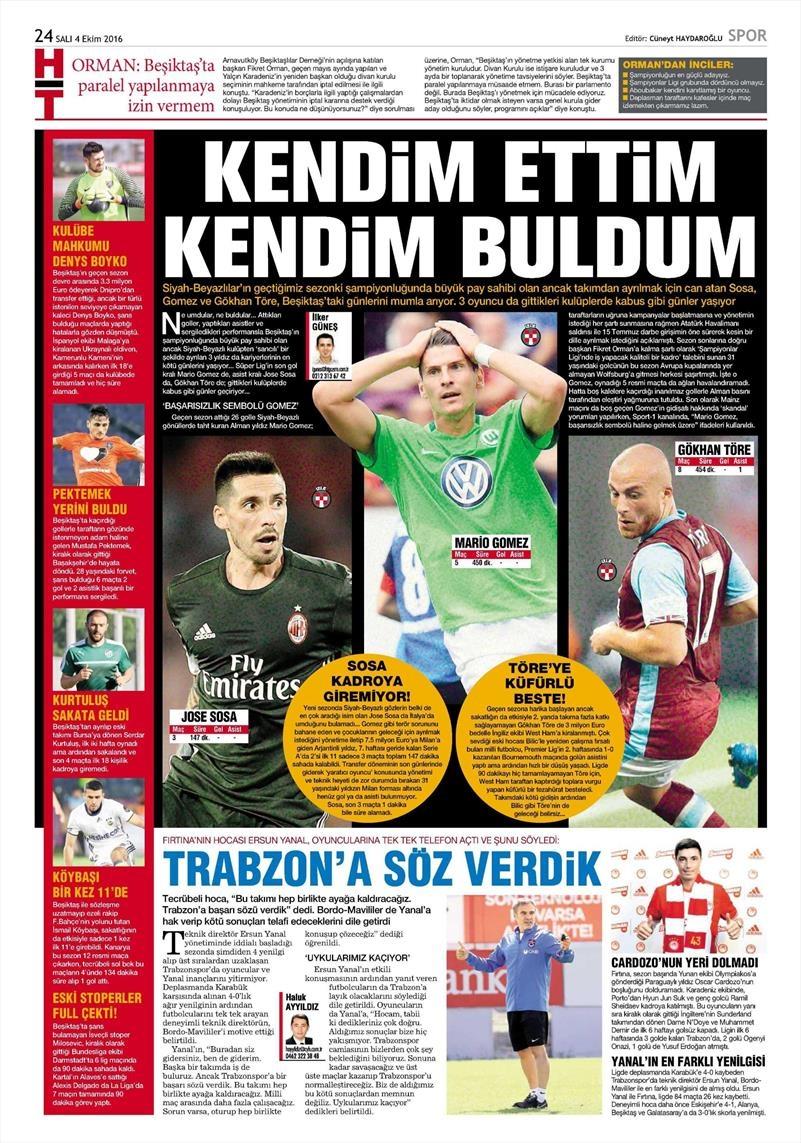 4 Ekim 2016 | Beşiktaş sayfaları 8