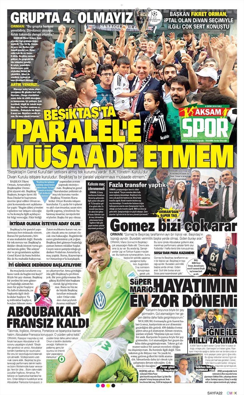4 Ekim 2016 | Beşiktaş sayfaları 9
