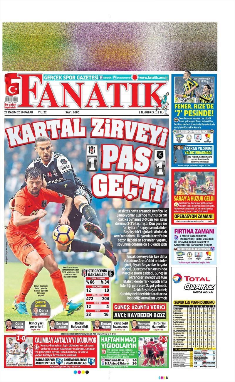 27 Kasım 2016 | Gazetelerin Beşiktaş sayfaları 1