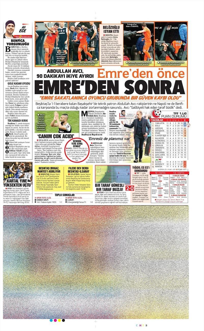 27 Kasım 2016 | Gazetelerin Beşiktaş sayfaları 10