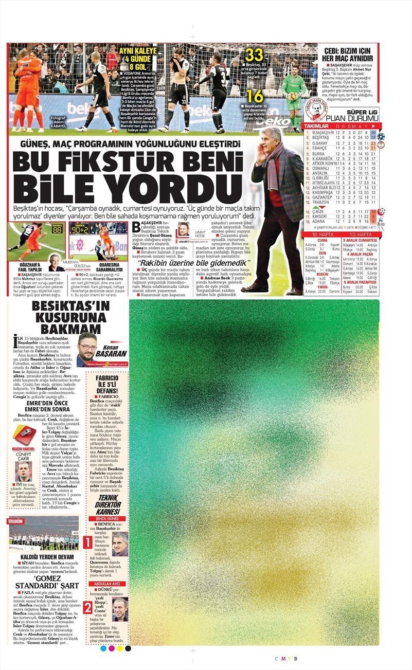 27 Kasım 2016 | Gazetelerin Beşiktaş sayfaları 12