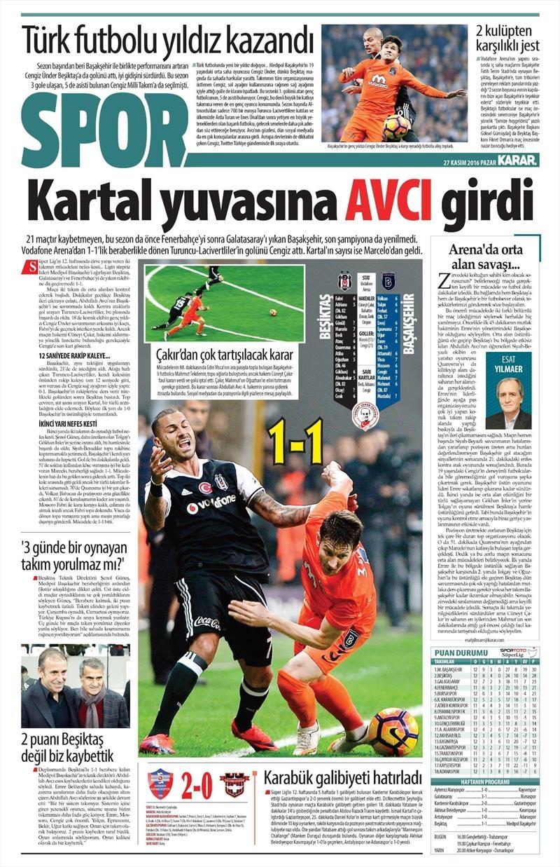27 Kasım 2016 | Gazetelerin Beşiktaş sayfaları 13