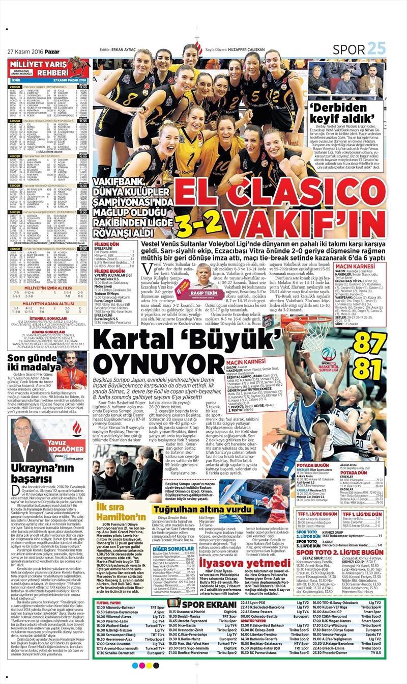 27 Kasım 2016 | Gazetelerin Beşiktaş sayfaları 14