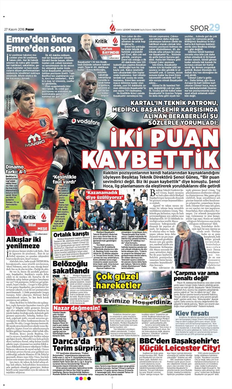 27 Kasım 2016 | Gazetelerin Beşiktaş sayfaları 16