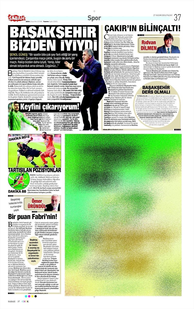 27 Kasım 2016 | Gazetelerin Beşiktaş sayfaları 21