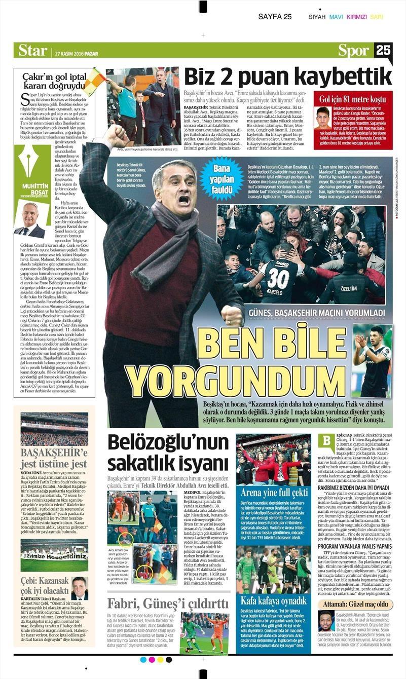 27 Kasım 2016 | Gazetelerin Beşiktaş sayfaları 22