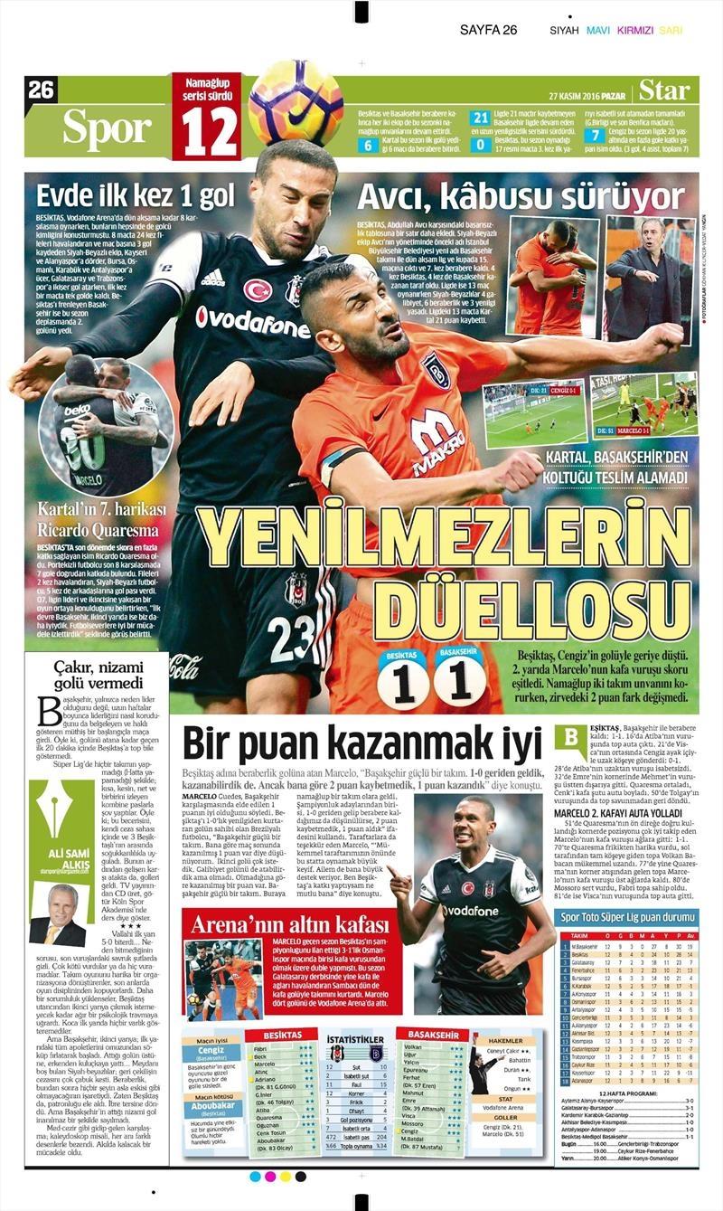 27 Kasım 2016 | Gazetelerin Beşiktaş sayfaları 23