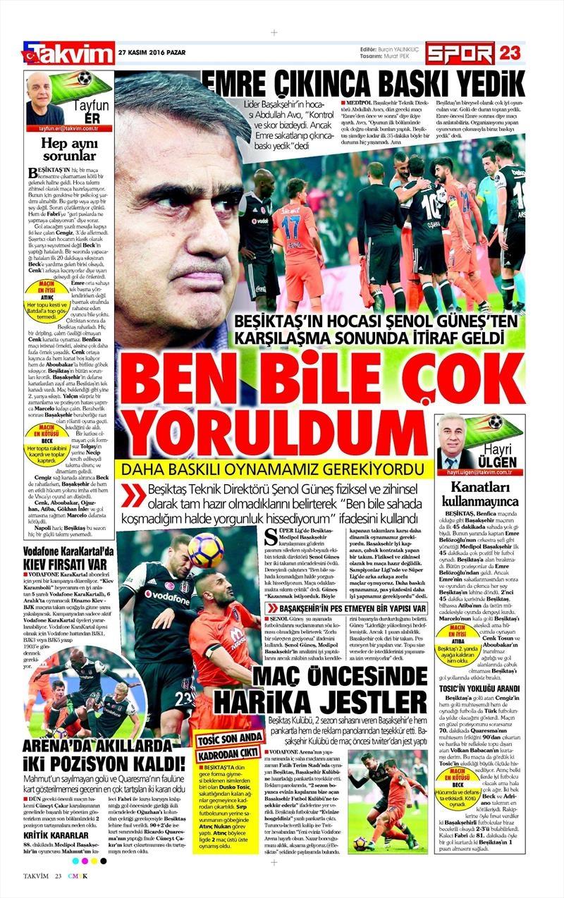 27 Kasım 2016 | Gazetelerin Beşiktaş sayfaları 25
