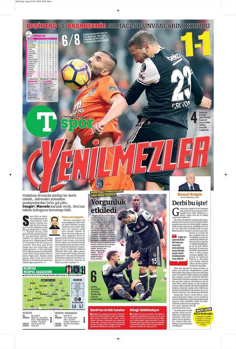 27 Kasım 2016 | Gazetelerin Beşiktaş sayfaları 27