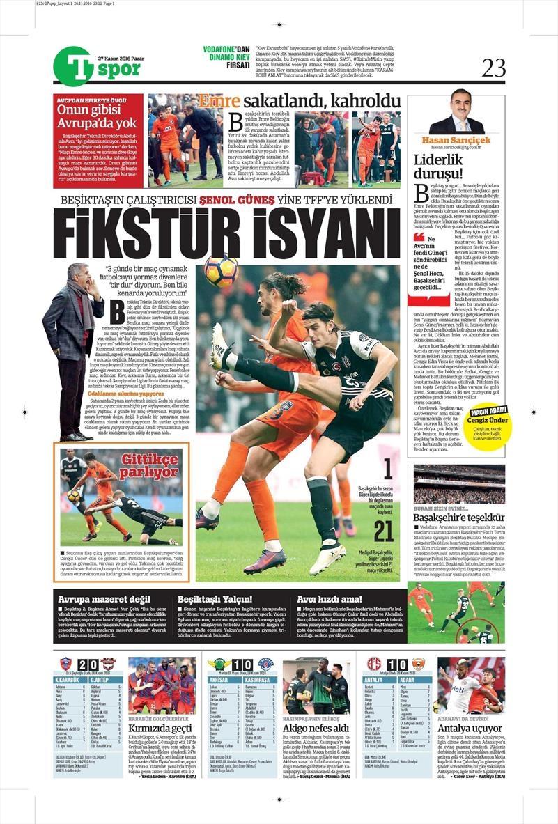 27 Kasım 2016 | Gazetelerin Beşiktaş sayfaları 28