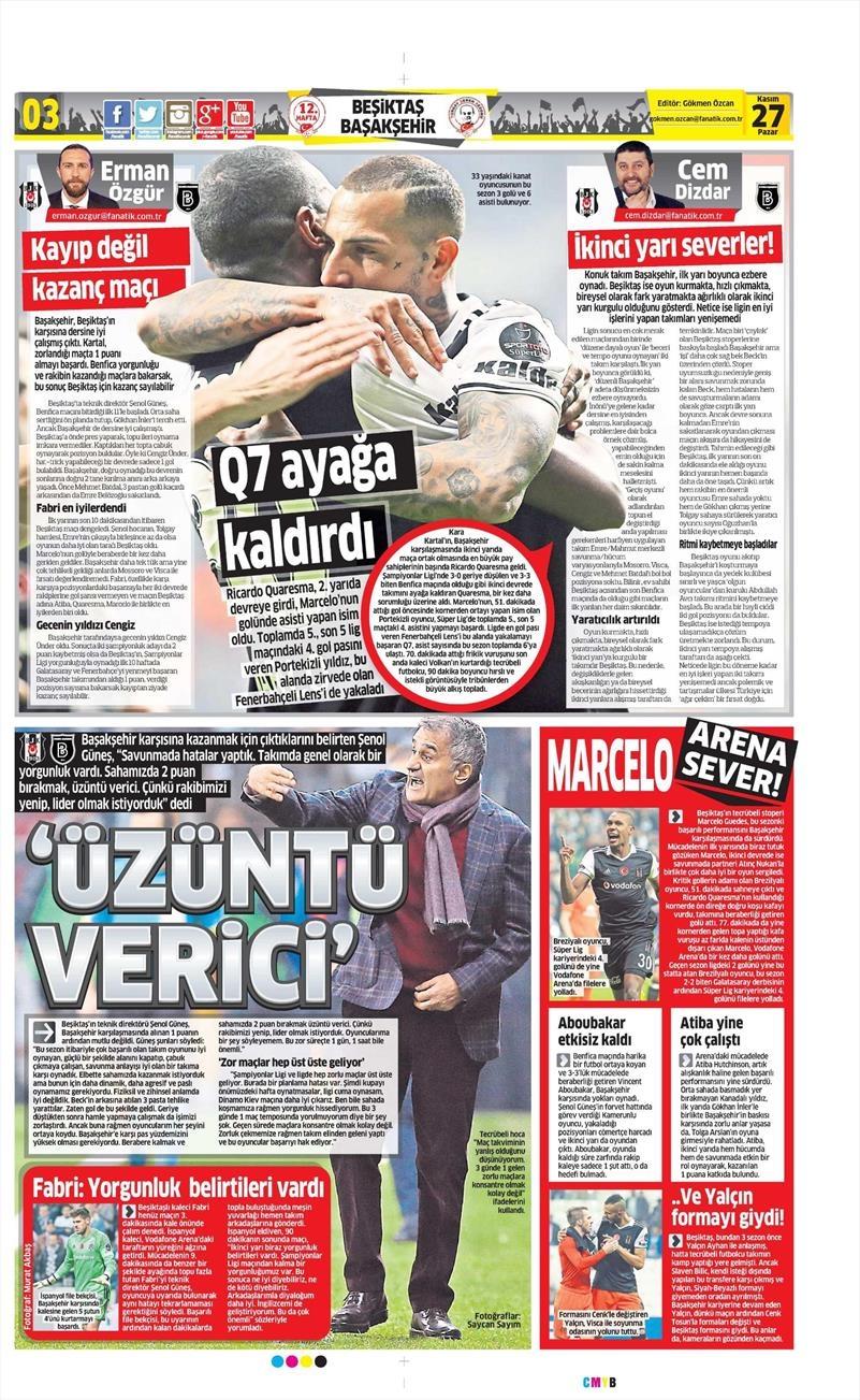 27 Kasım 2016 | Gazetelerin Beşiktaş sayfaları 3