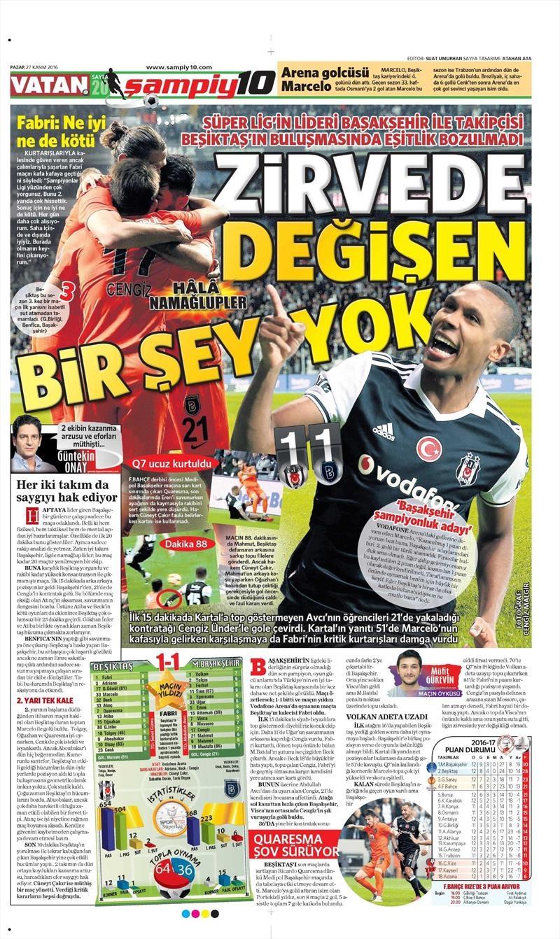 27 Kasım 2016 | Gazetelerin Beşiktaş sayfaları 30