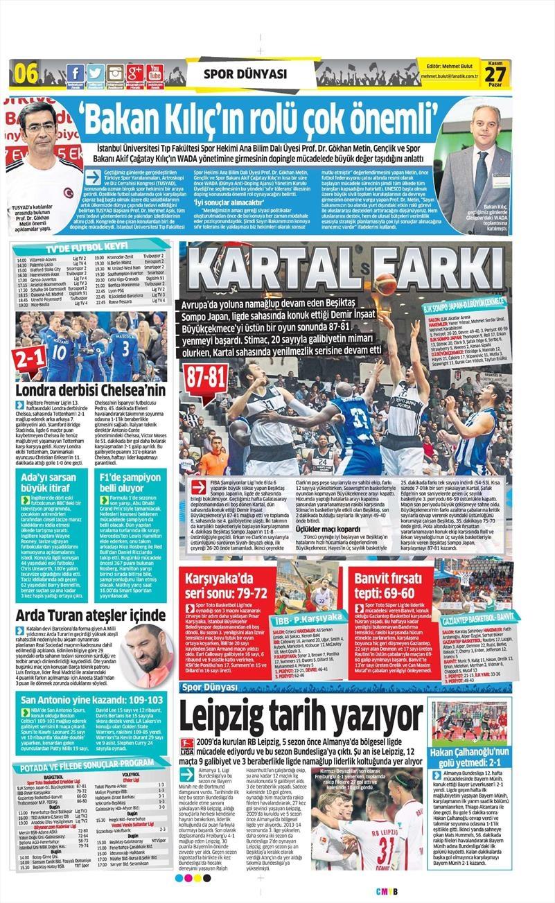 27 Kasım 2016 | Gazetelerin Beşiktaş sayfaları 6