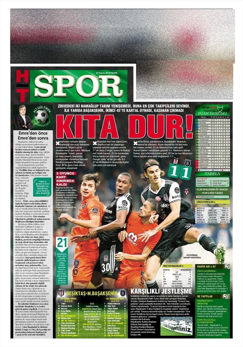 27 Kasım 2016 | Gazetelerin Beşiktaş sayfaları 8